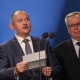 Michal Hašek - hejtman JMK a Jiří Vítek - ZPMV - vyhlášení výsledků ankety Dobrovolní hasiči roku 2014