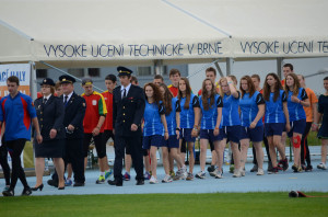 Roadshow ADHR - MČR v požárním sportu mládeže Brno - nástup cvičích dívek